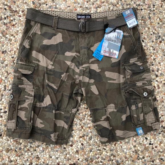 93fbedfde7 Iron Co Shorts | 38 Vtg Wash Mud Camo Cargo Belt Nwt | Poshmark